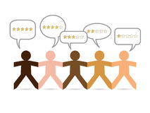 Skin Tone People Gold Stars. Cut out different skin colored paper people with gold star ratings in speech bubbles stock illustration