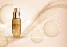 Skin Toner Bottle Template for Ads or Magazine Background. 3D Re Royalty Free Stock Image