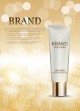 Skin Toner Bottle Tube Template for Ads or Magazine Background. Stock Images