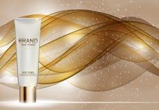 Skin Toner Bottle Tube Template for Ads or Magazine Background. royalty free illustration