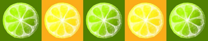 Skinali vector polygonal slices fruits, kitchen design, size 30cm*6cm Stock Photo