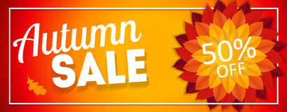 Skinande Autumn Leaves Sale Banner Affärsrabattkort också vektor för coreldrawillustration Arkivbild