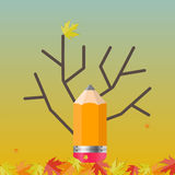 Skinande Autumn Natural Tree Background vektor Royaltyfria Foton