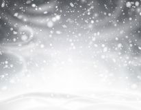 Skinande bakgrund för grå färger med vinterlandskap, snö, vind och bliz stock illustrationer