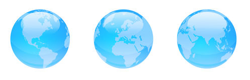 Skinande blåa jordklot Fotografering för Bildbyråer
