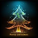 Skinande blom- Xmas-träd för glad jul Arkivbild