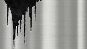 Skinande borstad metallbakgrundstextur med rostiga droppander av flytande Polerade metalliska stålsätter plattan med spårar av ro royaltyfri illustrationer