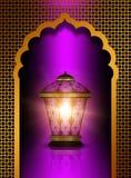 Skinande diwalilykta över violett bakgrund royaltyfri illustrationer
