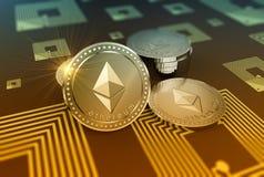 Skinande Ethereum crypto-valuta bakgrund stock illustrationer