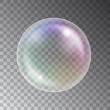 Skinande färgrik såpbubbla för vektor som isoleras på mörk bakgrund stock illustrationer