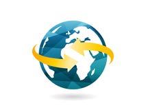 Skinande geometrisk jordklotsymbol med pilabstrakt begreppbegrepp Grafisk mall för vektorillustration som isoleras på vit bakgrun Royaltyfri Fotografi