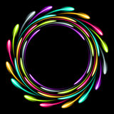 Skinande glödande neoncirkel Abstrakt bakgrund med en lysande effekt Royaltyfri Foto