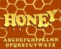 Skinande glasat, honungalfabetdesign Smältande stilsort Vektorbrevhuvuduppsättning Arkivbild