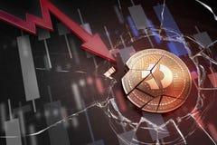 Skinande guld- Bitcoin mörkt cryptocurrencymynt som är brutet på tolkning för underskott 3d för negativ diagramkraschbaisse falla arkivbilder