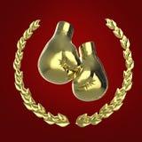 Skinande guld- boxninghandskar som omges av en lagerkrans på röd bakgrund, tolkning 3d Royaltyfri Illustrationer