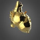 Skinande guld- cyborgtechnohjärta med skinande guld- detaljer och kulöra glass indikatorer, Stock Illustrationer