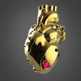 Skinande guld- cyborgtechnohjärta med skinande guld- detaljer och kulöra glass indikatorer, Royaltyfri Illustrationer