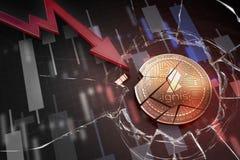 Skinande guld- IGNIS-cryptocurrencymynt som är brutet på tolkning för underskott 3d för negativ diagramkraschbaisse fallande bort royaltyfri fotografi