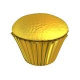 Skinande guld- koppkaka för guld- muffin Royaltyfri Fotografi