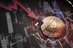 Skinande guld- LISK-cryptocurrencymynt som är brutet på tolkning för underskott 3d för negativ diagramkraschbaisse fallande bortt royaltyfri foto