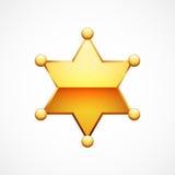 Skinande guld- sheriff Star för vektor Royaltyfria Bilder