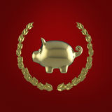 Skinande guld- spargris som omges av en lagerkrans på röd bakgrund, tolkning 3d Vektor Illustrationer