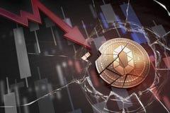 Skinande guld- STÖDER cryptocurrencymyntet som är brutet på tolkning för underskott 3d för negativ diagramkraschbaisse fallande b royaltyfri foto