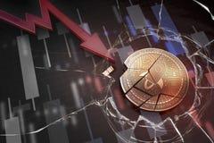 Skinande guld- STJÄRN- cryptocurrencymynt som är brutet på tolkning för underskott 3d för negativ diagramkraschbaisse fallande bo arkivfoton