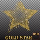 Skinande guld- stjärna som isoleras på genomskinlig bakgrund vektor Arkivfoton