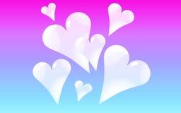 Skinande härliga färgrika ljusa brokiga festliga hjärtor för genomskinligt blått exponeringsglasabstrakt begrepp på en blått lutn stock illustrationer