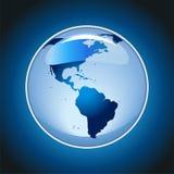 Skinande jordklot på blå bakgrundsvektor Arkivbilder