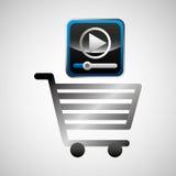 Skinande kommers för spelare för video för shoppingvagn online- royaltyfri illustrationer