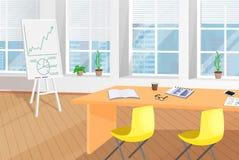 Skinande kontorsrum med tabellen och Flip Chart Poster royaltyfri illustrationer