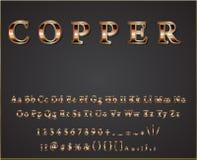 Skinande kopparbokstäver för vektor vektor illustrationer