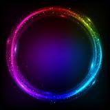 Skinande kosmisk vektorbakgrund för cirklar Royaltyfri Foto