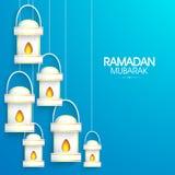 Skinande lampor för helig månadRamadan Kareem beröm Royaltyfri Foto