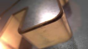 Skinande metallsymbol av huset i den sömlösa animeringen 3D med djup av fältet vektor illustrationer