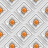 Skinande orange sfärer med organiskt formade anslutningar i en samling av (sömlösa) vita fyrkanter, Arkivfoto