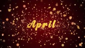 Skinande partiklar för April Greeting korttext för beröm, festival stock video
