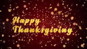 Skinande partiklar för lycklig text för Thankgiving hälsningkort för beröm, festival arkivfilmer