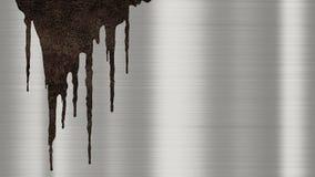 Skinande polerad metallbakgrundstextur med rostiga droppander av flytande Borstade metalliska stålsätter plattan med spårar av ro vektor illustrationer