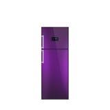 Skinande purpurfärgat kylskåp som isoleras på vit Royaltyfria Foton