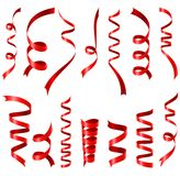 Skinande röd banduppsättning på vit bakgrund Vektor Illustrationer