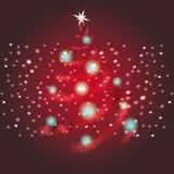 Skinande röd vektorbakgrund för julgran stock illustrationer