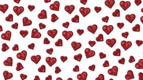 Skinande röda hjärtor som reflekterar på vit bakgrund arkivfilmer