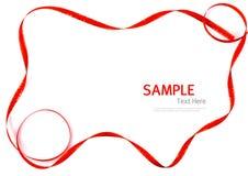 Skinande rött och guld- gränsband på vit bakgrund med kopian Arkivfoton