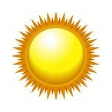 Skinande sol i den ljusa himlen. Vektor Arkivfoton
