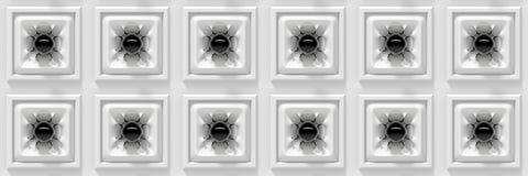 Skinande svarta sfärer med organiskt formade anslutningar i en samling av (sömlösa) vita kuber, Royaltyfri Fotografi