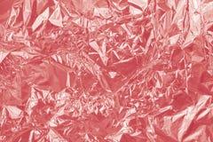 Skinande textur för Rose Gold folie, abstrakt rött inpackningspapper Fotografering för Bildbyråer