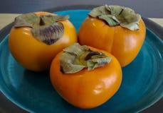 Skinande tre och släta orange persimoner med grön lövrik blast a Royaltyfri Bild